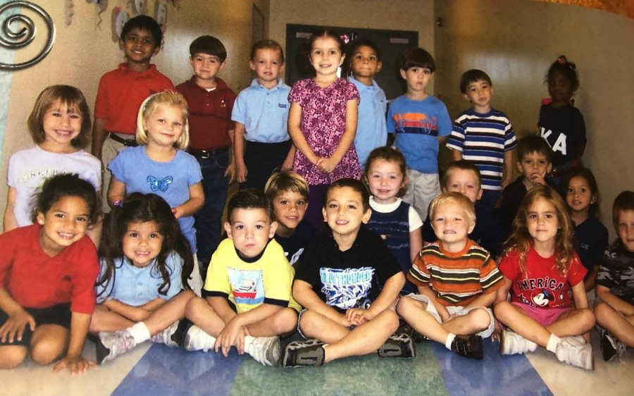 Mrs. Wright's Junior Kindergarten class featuring '20 seniors Carolina Cuomo, Madison Ames, Conner Marschall, Ethan Spell, Josh Tutwiler, Presley Almond, and Katie Richert.