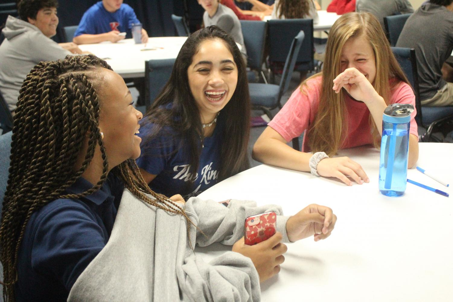 Bree Taylor, Bella Torres, and Makayla Martin enjoying their time of faith and fellowship at one80.