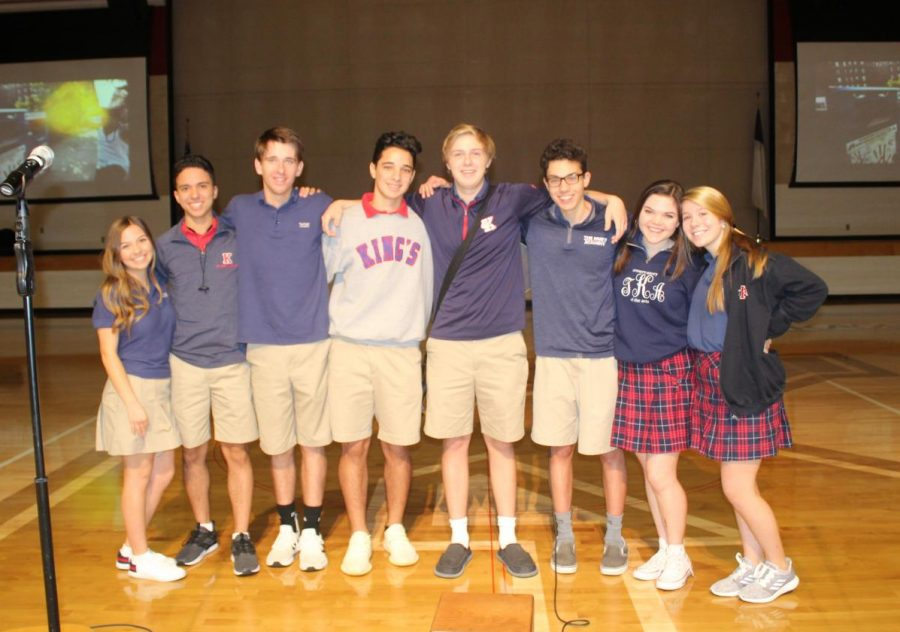 (Left to Right) Mikayla Smith ('20), Jessie Hernandez ('20), Kyler O'Brian ('20), Emilio Machado ('20), Jonathon Allen ('21), Albert Elias ('20), Olivia Henley ('21), and Abby Scalici ('20) are members of the 2019-2020 Student Chapel Worship Team.