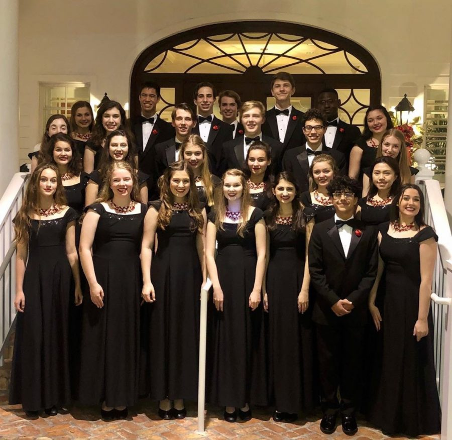 Selected members of the His People Honors Choir on a special run out engagement perform at the Country Club Of Florida. These students brought Christmas traditions to life at all 17 December performances. (Photo Credit: Christina Morzella)