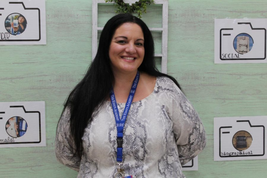 Senior English teacher, Mrs. Espina, begins her sixteenth year of teaching at The King's Academy. King's is only her second school to teach at in her teaching career. (Photo Credit: Kate Wallace)