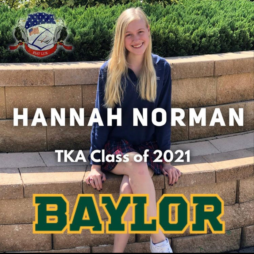 Hannah Norman's acceptance post to Baylor on TKA's Instagram. (Photo Credit: Robin Carrier)